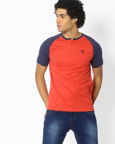 TEAMSPIRIT - Colourblock Henley T-shirt with Raglan Sleeves