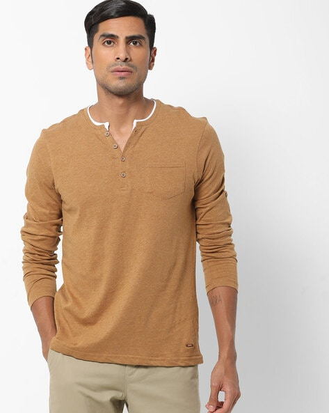 DNMX - Heathered Henley T-shirt with Patch Pocket