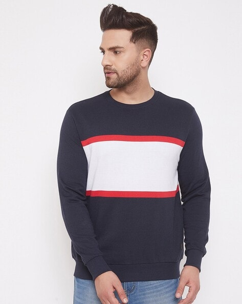 AUSTIN WOOD - Colourblock Round-Neck Sweatshirt