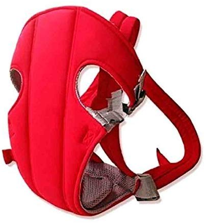 BabyGo 3 Position Adjustable Baby Carrier with Comfortable Head Support and Buckle Straps (Red)