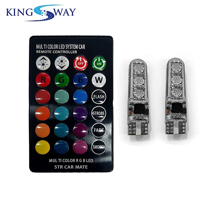 Kingsway LED Parking Bulb with IR Remote for All Cars and Bikes (Pack of 2, Small, Multi-Color)