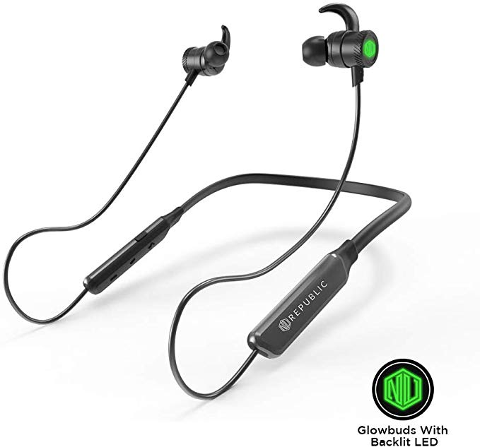 Nu Republic Rebop Neckband in-Ear Wireless Earphones with LED Light, IPX5 Water and Sweat Resistant, 10mm Titanium Drivers with deep bass, Long Battery Life, in-line Controls with Mic- Green & Black