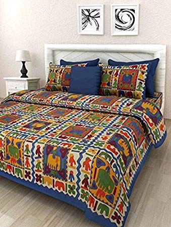UHF Handloom Design Rajasthani Print Cotton Double Bedsheet with 2 Pillow Covers Bed Cover Bedding Set Multi Color