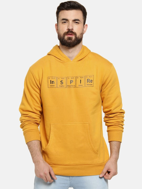 Campus Sutra - Men Mustard Yellow Printed Hooded Pullover Sweatshirt