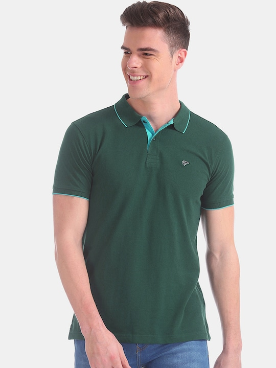 Ruggers - Men Green Solid Polo Collar T-shirt