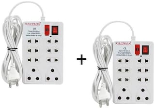 kaltron VE1022 Multi Pin White Extension Board ( 2.5 m , 8 Socket , 1 Switches)