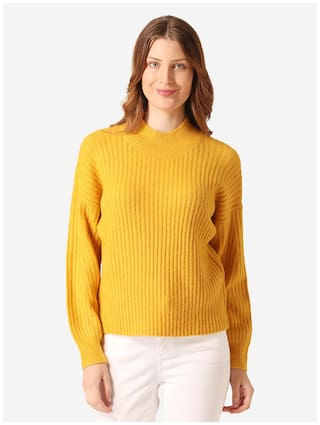 Mode by Red Tape Women Solid Sweater - Mustard