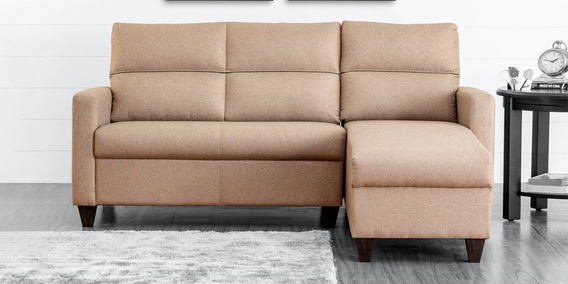 Clary LHS 2 Seater Sectional Sofa in Beige Colour