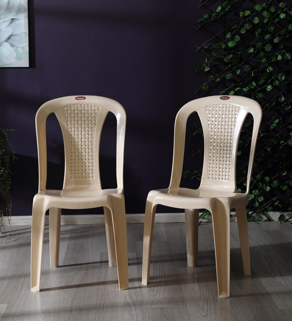 Plastic Chair (Set of 2) in Marble Beige Colour