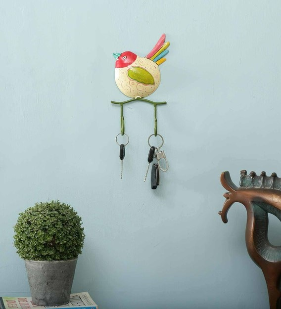 Multicolour Iron Metal Painted Wall Bird 2 Key Holder