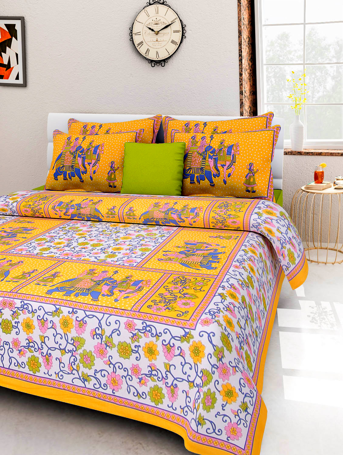 FrionKandy 100% Cotton Printed 120 TC Double Bed Sheet With 2 Pillow Covers - (82 Inch X 92 Inch, Yellow) SHKAP1038
