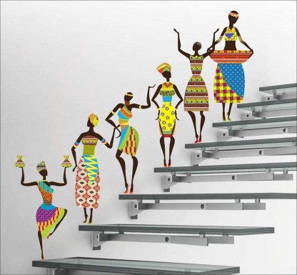 Pack Of 1 Eja Art Tribal Lady PVC Multicolor Wall Sticker (60 cm x 180 cm)