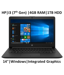 HP 14 ck0119tu 2019 14-inch Laptop (7th Gen i3-7020U/4GB/1TB/Windows 10 Home/Integrated Graphics), Jet Black