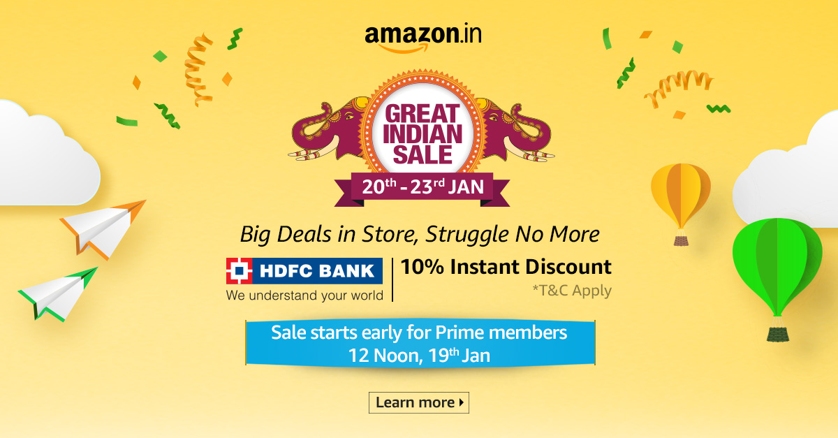 Amazon GREAT INDIAN FESTIVAL from 20th to 23rd January 2019