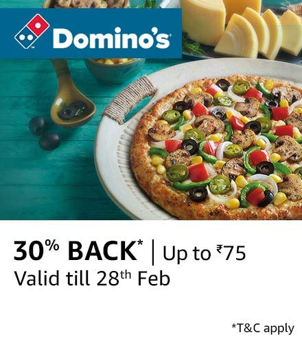Domino's - Order food using Amazon Pay and Get upto Rs 75 back